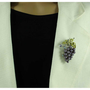 Model with Bunch of Purple Pearl Grapes with Green Enamel Leaf Brooch Pin - Lilylin Designs