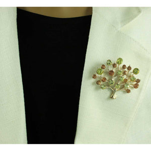 Model with Green and Brown Crystal Tree of Life Brooch Pin - Lilylin Designs
