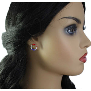Model with Silver-tone Patriotic Red, White, and Blue Infinity Circle Pierced Earring - Lilylin Designs