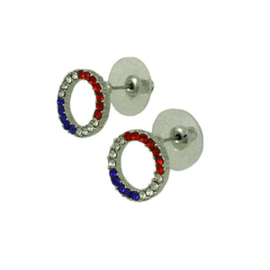 Silver-tone Patriotic Red, White, and Blue Infinity Circle Pierced Er (side) - Lilylin Designs