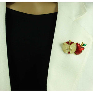 Model with Red and Cream Enamel Split Apple with Crystals Brooch Pin - Lilylin Designs