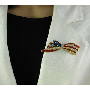 Model with Gold-plated Enamel and Crystal Patriotic Bow Brooch Pin - Lilylin Designs
