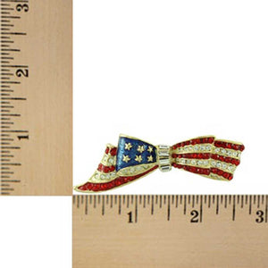 Gold-plated Enamel and Crystal Patriotic Bow Brooch Pin (sized) - Lilylin Designs