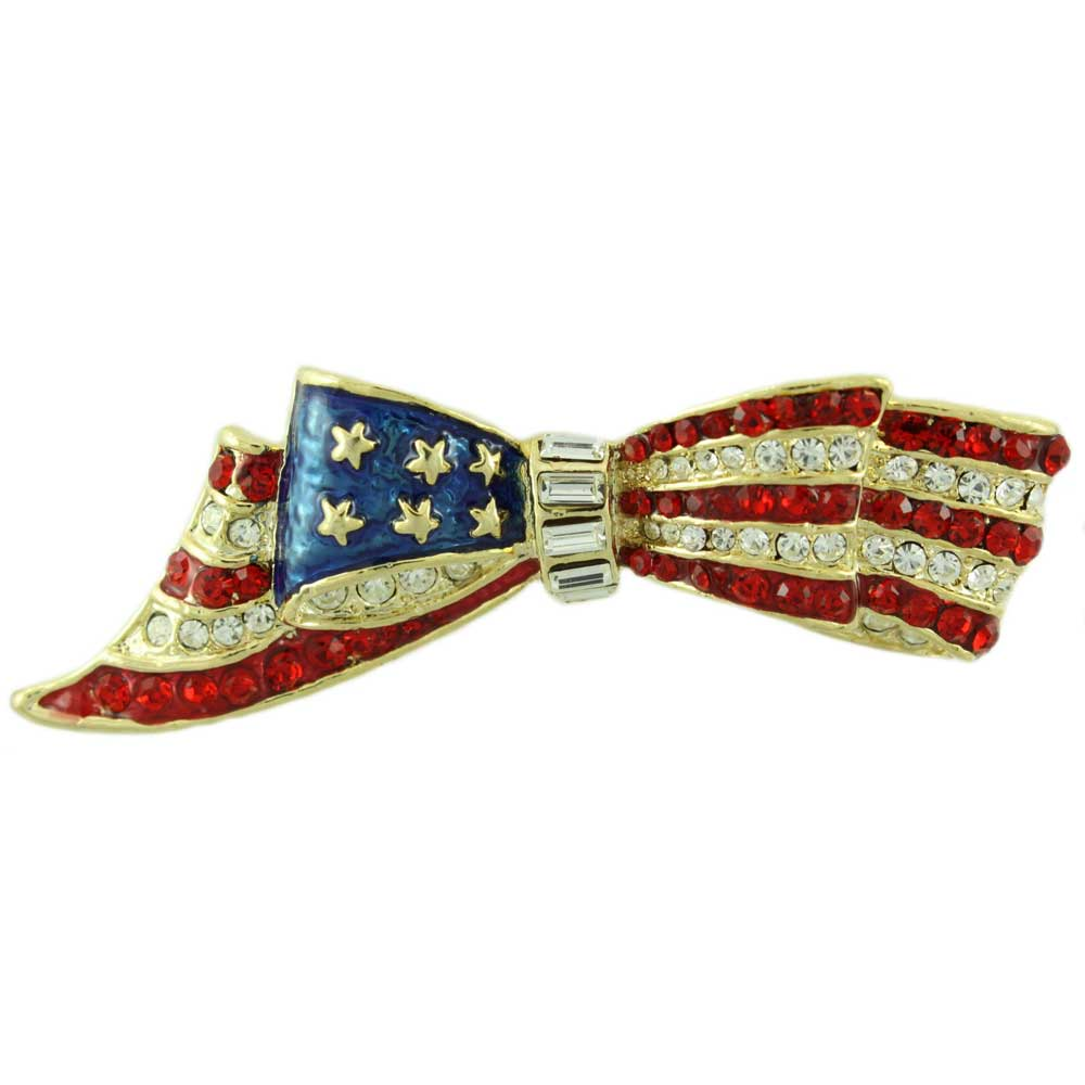 PRF846-Enamel and Crystal Patriotic Bow Pin. Gold or Silver | Lilylin Designs