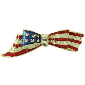Gold-plated Enamel and Crystal Patriotic Bow Brooch Pin - Lilylin Designs