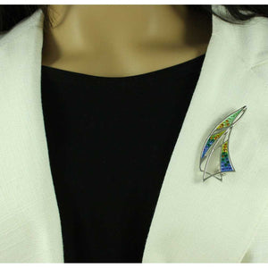 Model with Blue, Green, and Yellow Enamel and Crystal Sailboat Brooch Pin - Lilylin Designs