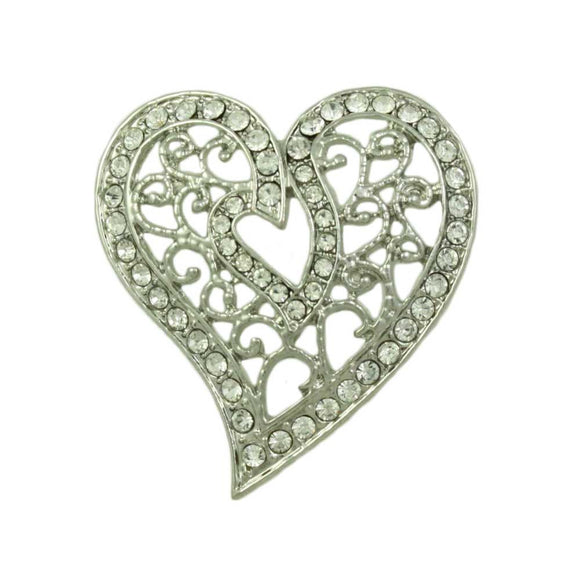 Silver-tone Crystal Filigree Heart Brooch Pin - Lilylin Designs