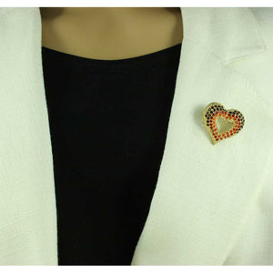 Model with Dark Red, Red, and Orange Crystal Open Heart Brooch Pin - Lilylin Designs