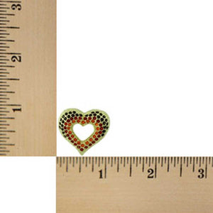 Dark Red, Red, and Orange Crystal Open Heart Brooch Pin (sized) - Lilylin Designs