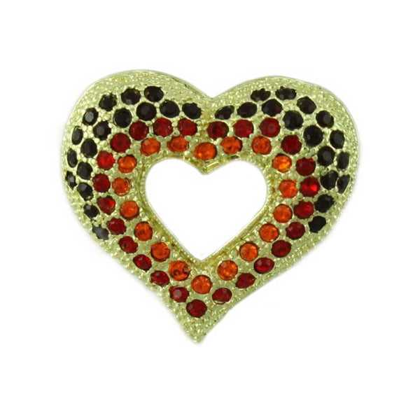Dark Red, Red, and Orange Crystal Open Heart Brooch Pin - Lilylin Designs