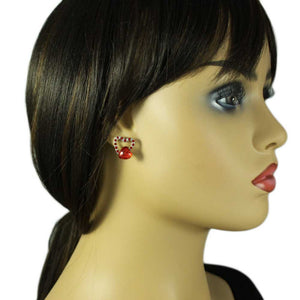 Model with Red Crystal and Acrylic Heart Valentine's Day Pierced Earring - Lilylin Designs