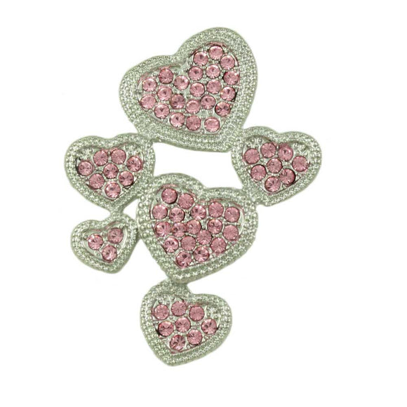 6 Pink Crystal Hearts Valentine's Day Brooch Pin - Lilylin Designs