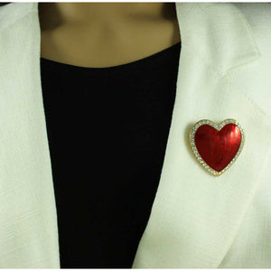 Model wiyh Large Red Enamel Heart Surrounded with Crystals Brooch Pin - Lilylin Designs