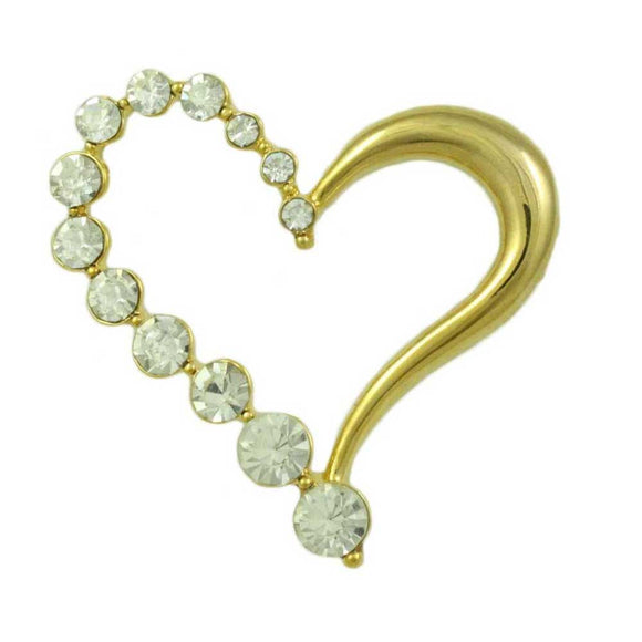 Half Gold, Half Crystal Open Heart Brooch Pin - Lilylin Designs