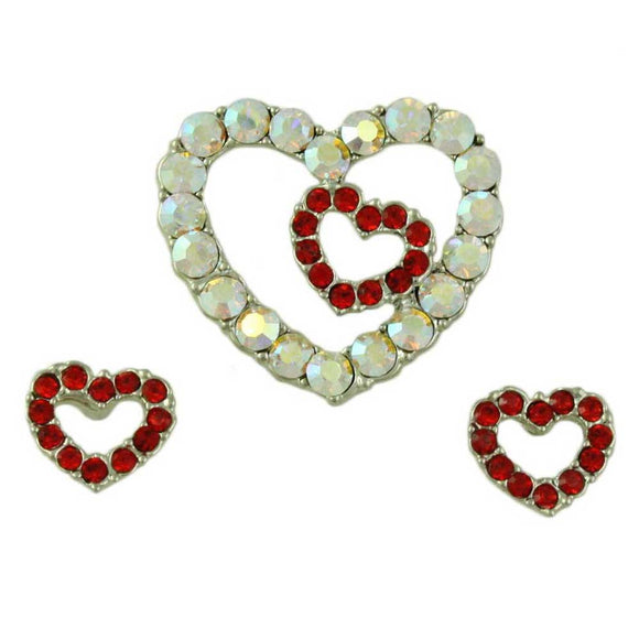 Crystal Heart Brooch Pin with Red Crystal Heart Pierced Earring Set - Lilylin Designs