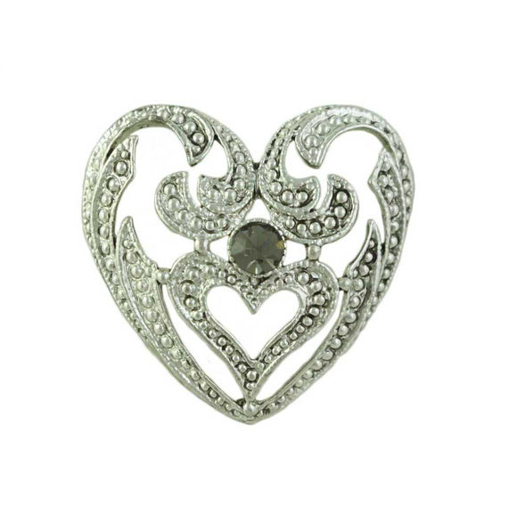 Antique Silver-tone Heart with Gray Crystal Brooch Pin - Lilylin Designs