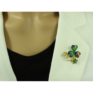 Model with 3 Glass Iridescent Sparkling Hearts with Crystal Daisy Brooch Pin - Lilylin Designs