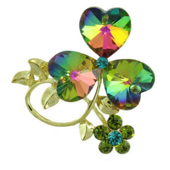 3 Glass Iridescent Sparkling Hearts with Crystal Daisy Brooch Pin - Lilylin Designs
