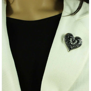 Model with Black Enamel and Crystal Heart with Silver Curlicues Brooch Pin - Lilylin Designs