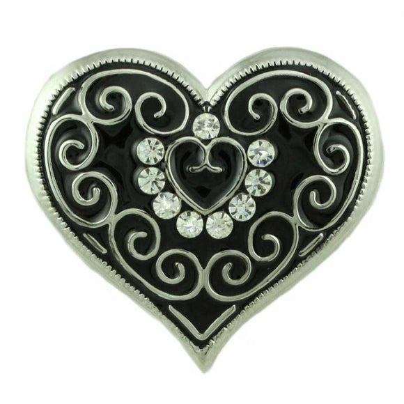 Black Enamel and Crystal Heart with Silver Curlicues Brooch Pin - Lilylin Designs