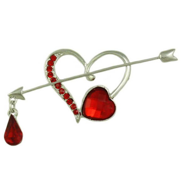 Open Heart with Red Crystal Bleeding Arrow Brooch Pin - Lilylin Designs