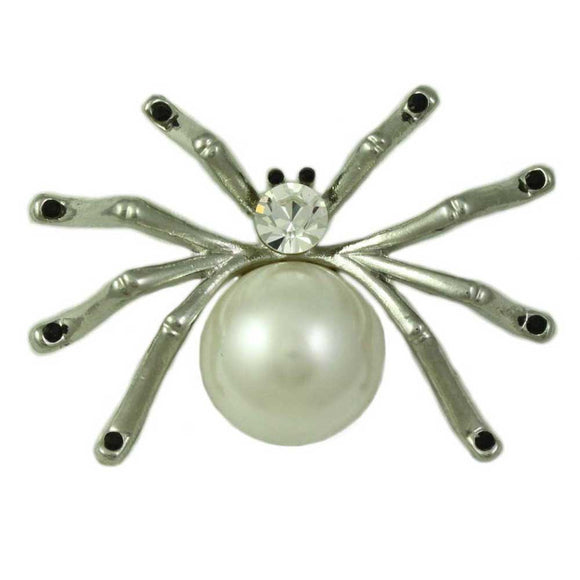 Silver-tone Spider with Large Pearl Body and Crystal Head Brooch Pin - Lilylin Designs