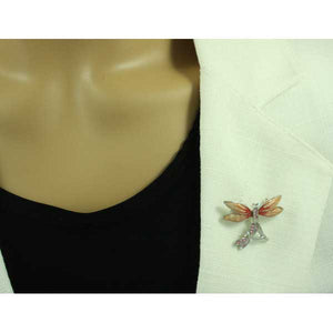 Model with Double Dragonfly with Orange Enamel and Pink Crystal Wings Brooch Pin - Lilylin Designs