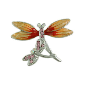 Double Dragonfly with Orange Enamel and Pink Crystal Wings Brooch Pin - Lilylin Designs
