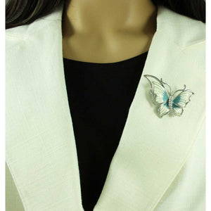 Model with Blue and White Enamel Butterfly with Crystal Body Brooch Pin - Lilylin Designs