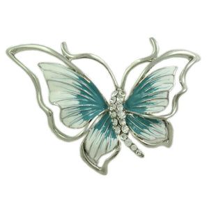 Blue and White Enamel Butterfly Pin - Lilylin Designs