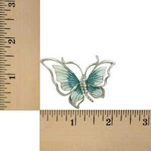 Blue and White Enamel Butterfly Pin (sized) - Lilylin Designs