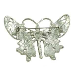 Black Enamel and Crystal Butterfly Brooch Pin (back) - Lilylin Designs