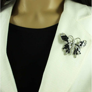 Model with Black Enamel and Crystal Butterfly Brooch Pin - Lilylin Designs