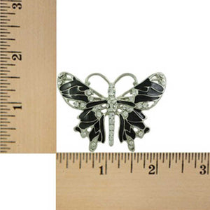 Black Enamel and Crystal Butterfly Brooch Pin (sized) - Lilylin Designs