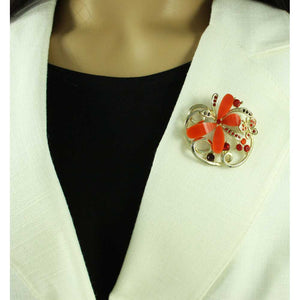 Model with Dark Orange and Crystal Butterflies in Loop Brooch Pin - Lilylin Designs