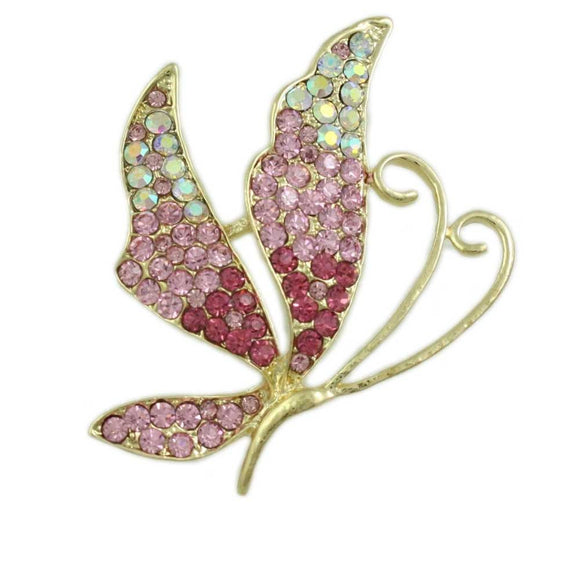 Light and Dark Pink Crystal Profile Butterfly Brooch Pin - Lilylin Designs