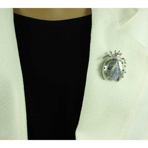 Model with Silver-tone with Light Blue Crystals Ladybug Brooch Pin - Lilylin Designs