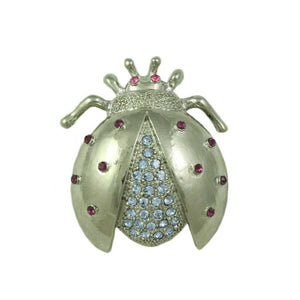 Silver-tone with Light Blue Crystals Ladybug Brooch Pin - Lilylin Designs