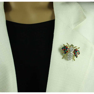 Model with Crystal Fly with Red, Green, and Blue Enamel Wings Brooch Pin - Lilylin Designs