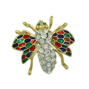 Crystal Fly with Red, Green, and Blue Enamel Wings Brooch Pin - Lilylin Designs