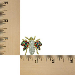 Crystal Fly with Red, Green, and Blue Enamel Wings Brooch Pin (sized) - Lilylin Designs