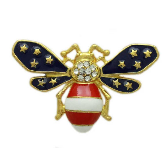 Patriotic Red, White, and Blue Enamel and Crystal Bee Brooch Pin - Lilylin Designs