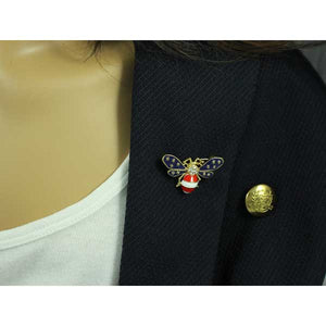Model with Patriotic Red, White, and Blue Enamel and Crystal Bee Brooch Pin - Lilylin Designs