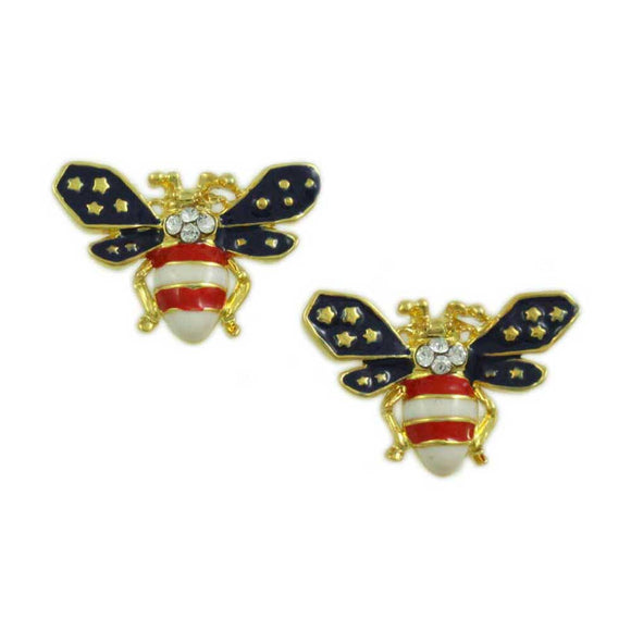 Patriotic Red, White, and Blue Enamel and Crystal Bee Pierced Earring - Lilylin Designs