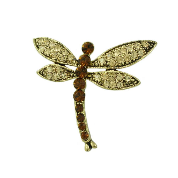 Light and Dark Brown Topaz Crystal Dragonfly Brooch Pin - Lilylin Designs
