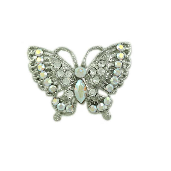 Small Sparkling Aurora Borealis Crystal Butterfly Brooch Pin - Lilylin Designs