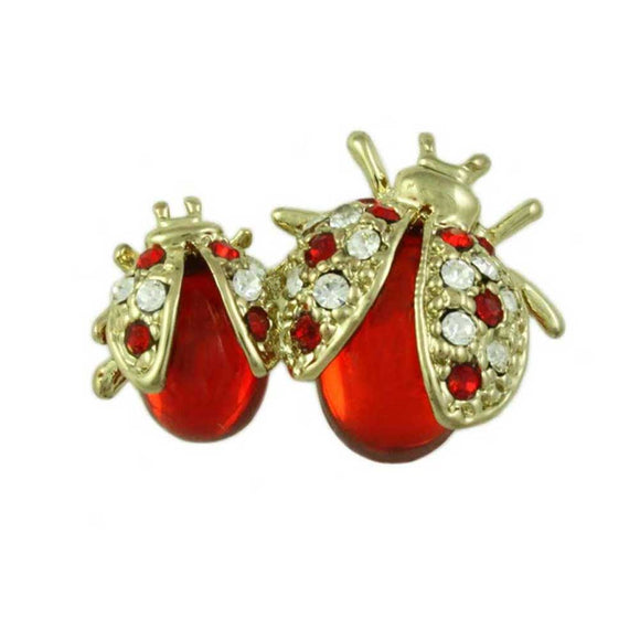 Red and Clear Crystal Mom and Baby Ladybugs Brooch Pin - Lilylin Designs