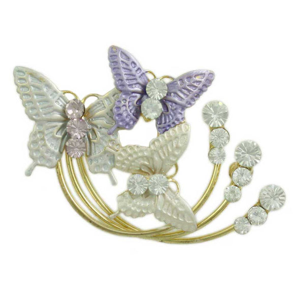 Purple, Gray, and White Enamel and Crystal Butterflies Brooch Pin - Lilylin Designs