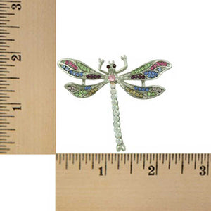 Pastel and Aurora Borealis Crystal Dragonfly Brooch Pin (sized) - Lilylin Designs