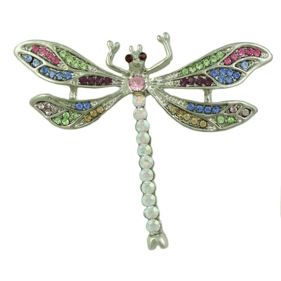 Pastel and Aurora Borealis Crystal Dragonfly Brooch Pin - Lilylin Designs